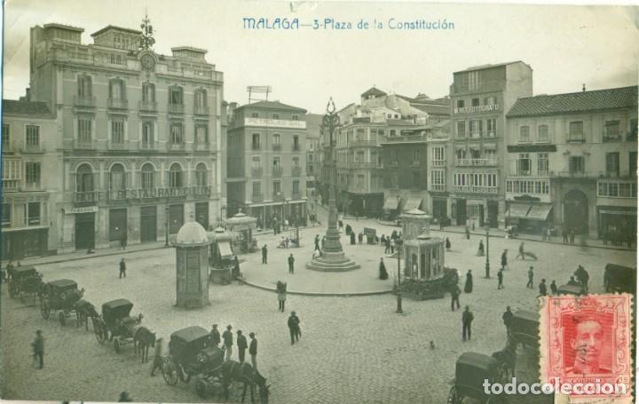 MALAGA. PLAZA DE LA CONSTITUCIÓN. CIRCULADA EN 1915.PUBLICIDAD HOTEL SIMÓN. FOTO ANDRÉS FABERT. (Postales - España - Andalucía Antigua (hasta 1939))