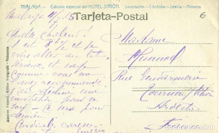 Postales: MALAGA. PLAZA DE LA CONSTITUCIÓN. CIRCULADA EN 1915.PUBLICIDAD HOTEL SIMÓN. FOTO ANDRÉS FABERT. - Foto 2 - 253569315