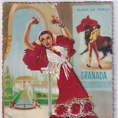 Postales: GRANADA POSTAL BORDADA GITANA, SEVILLANA. EDICIONES DOMINGUEZ. SIN CIRCULAR.. Lote 254968680