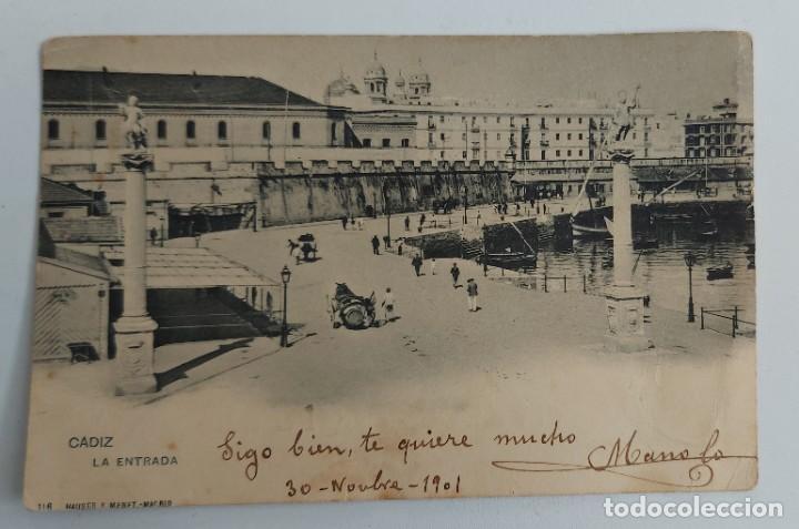 ANTIGUA POSTAL DE CADIZ - LA ENTRADA - AÑO 1901 - HAUSER Y MENET - (Postales - España - Andalucía Antigua (hasta 1939))