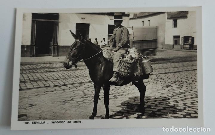 ANTIGUA POSTAL DE SEVILLA - VENDEDOR DE LECHE - NO CIRCULADA - EN PERFECTO ESTADO - L. ROISIN - (Postales - España - Andalucía Antigua (hasta 1939))