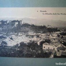 Cartes Postales: ANTIGUA POSTAL GRANADA LA ALHAMBRA DESDE SAN NICOLÁS HAUSER Y MENET. Lote 262311700