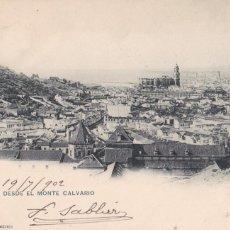 Postales: MALAGA VISTA DESDE MONTE CALVARIO. ED. HAUSER Y MENET Nº 181. REVERSO SIN DIVIDIR. CIRCULADA EN 1902. Lote 263169380