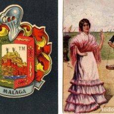Postales: DOS TARJETAS POSTALES DE MALAGA=ESCUDO Y MALAGUEÑA CON VENDEDOR DE PESCADO=VER FOTOS ADICIONALES .. Lote 269343743