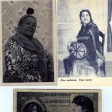 Postales: TRES POSTALES=DOS POSTALES TIPOS ANADALUCES Y UNA DEL BANCO DE ESPAÑA CON FOTO DE LA FORNARINA=.. Lote 269346693