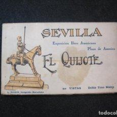 Postales: SEVILLA-EL QUIJOTE-EXPOSICION IBERO AMERICANA-BLOC CON 20 POSTALES-ROISIN FOTO-VER FOTOS-(81.851). Lote 270628168