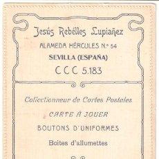 Postales: SEVILLA.POSTAL PUBLICITARIA.JESÚS REBÉLLES LUPIAÑEZ.COLECIONISTA TARJETAS POSTALES.BOTONES UNIFORMES. Lote 275122353