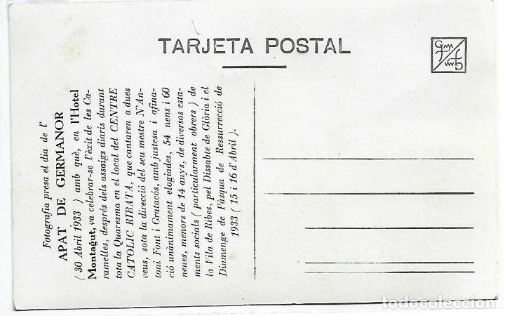 Postales: (PS-66153)POSTAL DFOTOGRAFICA DEL HOTEL MONTAGUT-CARAMELLES CENTRE CATOLIC RIBATA 30-4-1933 - Foto 2 - 277166073