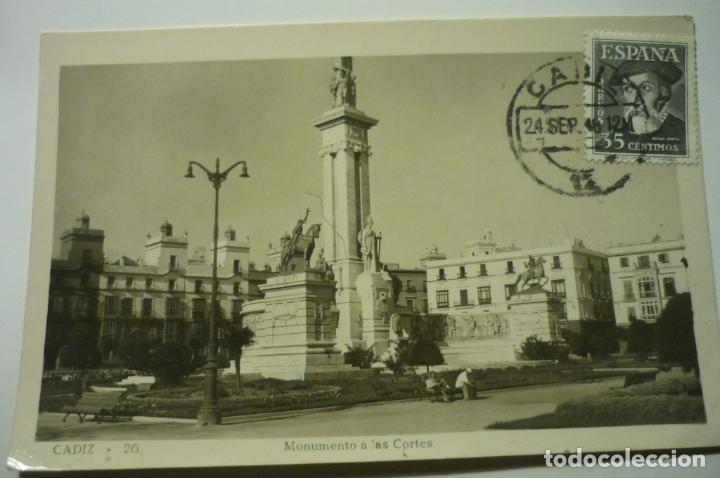 POSTAL CADIZ MONUMENTO CORTES.-CIRCULADA CM (Postales - España - Andalucia Moderna (desde 1.940))