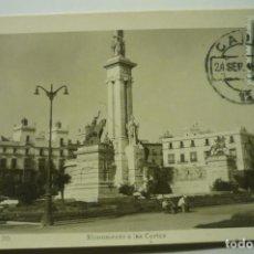 Postales: POSTAL CADIZ MONUMENTO CORTES.-CIRCULADA CM. Lote 277510203