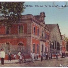 Postales: MÁLAGA: ESTACIÓN FERROCARRILES ANDALUCES. ED. DOMINGO DEL RÍO. NO CIRCULADA (AÑOS 10). Lote 279388183