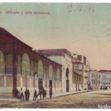 Postales: MÁLAGA: MERCADO Y CALLE ATARAZANAS. ED. DOMINGO DEL RÍO. CIRCULADA (AÑOS 10). Lote 279402433