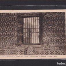 Postales: 98. - SEVILLA. - JARDINES DEL ALCAZAR - UNA VENTANA DEL PABELLÓN DE CARLOS QUINTO. Lote 279522163