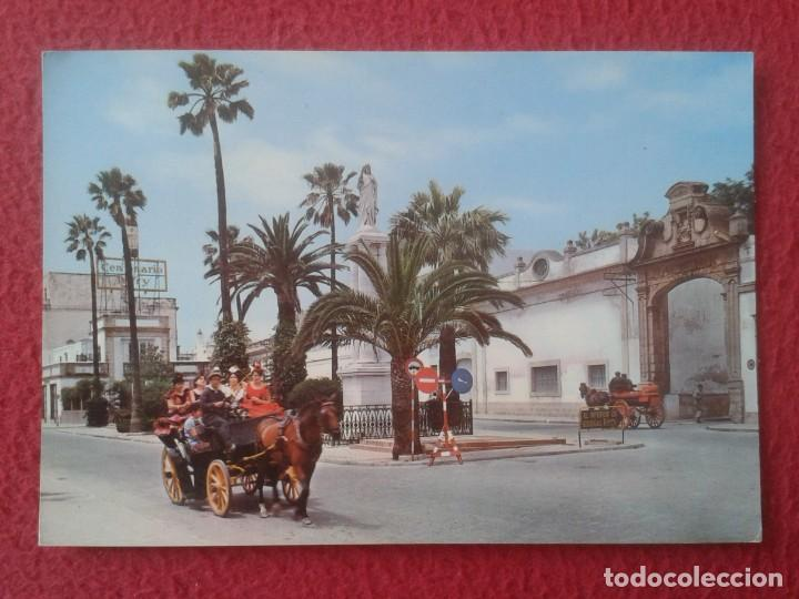 POST CARD EL PUERTO DE SANTA MARÍA CÁDIZ MONUMENTO AL CORAZÓN JESÚS COCHES DE CABALLOS, TERRY ETC... (Postales - España - Andalucia Moderna (desde 1.940))