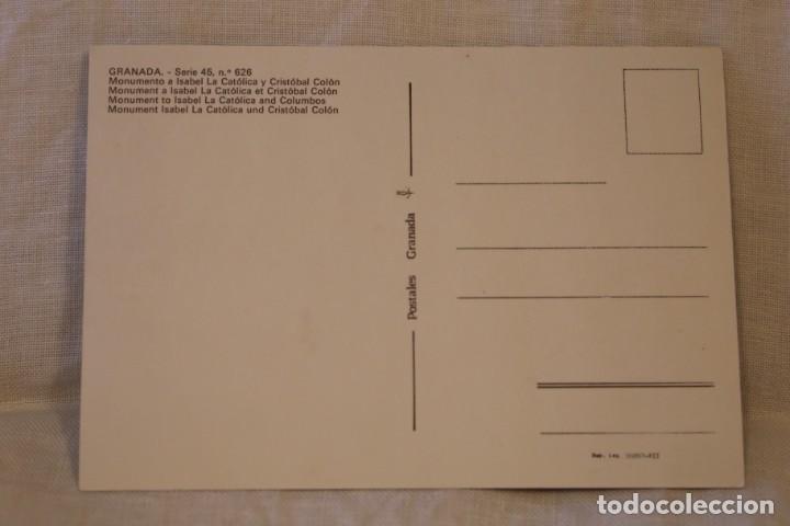 Postales: GRANADA SERIE 45 Nº 626 MONUMENTO A ISABEL LA CATÓLICA Y CRISTÓBAL COLÓN S/C - Foto 2 - 287792488