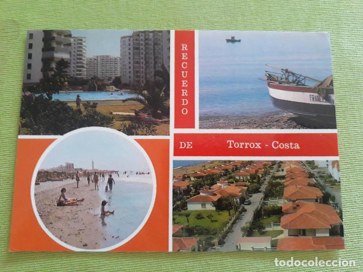TORROX-COSTA (MÁLAGA) COMPOSICIÓN DE 4 VISTAS DETALLES DE PLAYAS Y DE LA URBANIZACIONES (Postales - España - Andalucia Moderna (desde 1.940))