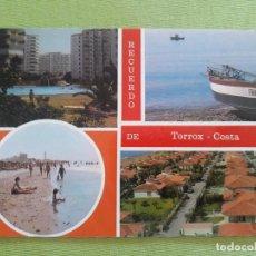 Postales: TORROX-COSTA (MÁLAGA) COMPOSICIÓN DE 4 VISTAS DETALLES DE PLAYAS Y DE LA URBANIZACIONES. Lote 287912378