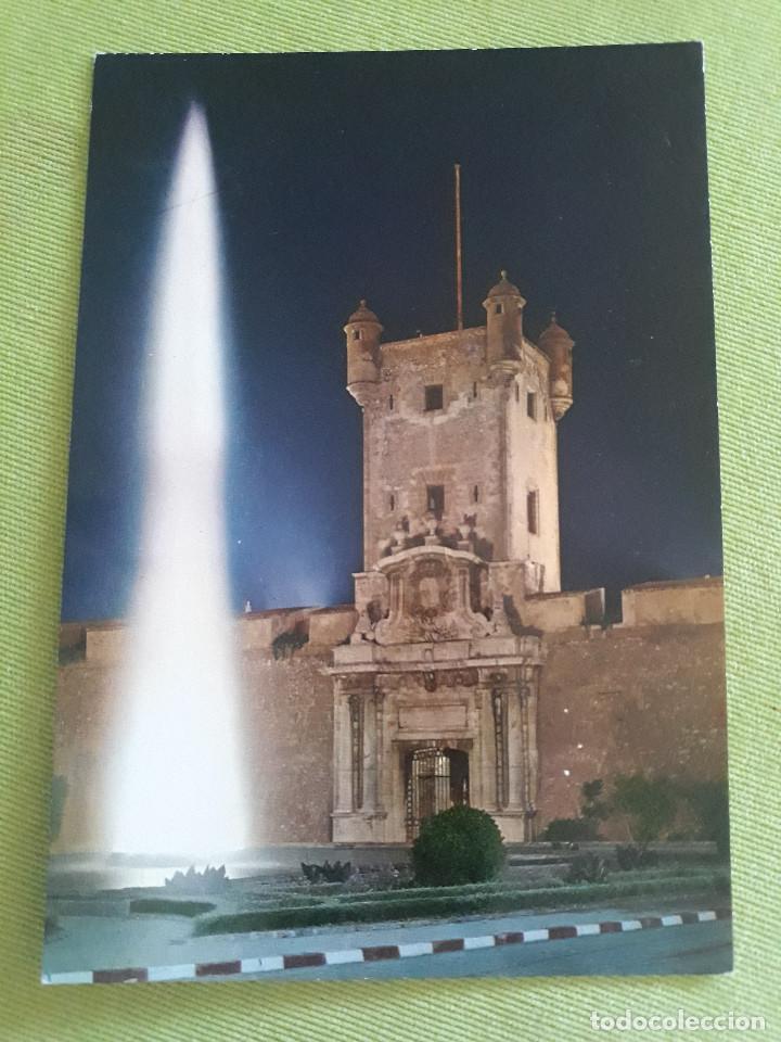 CADIZ - PUERTA DE TIERRA - FUENTE MONUMENTAL - ASPECTO NOCTURNO - NUEVA (Postales - España - Andalucia Moderna (desde 1.940))