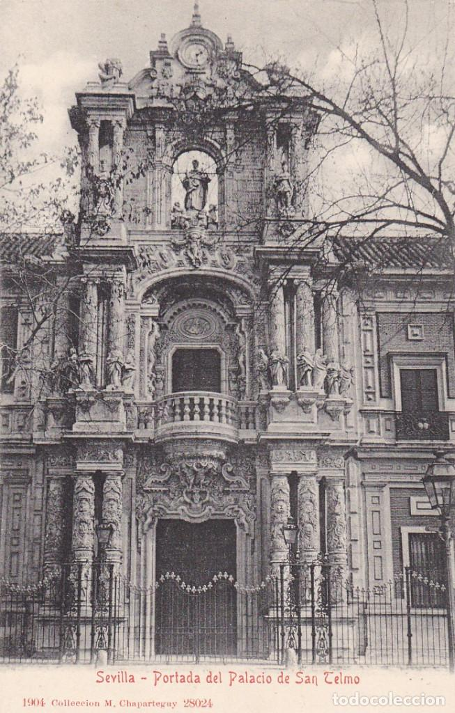 SEVILLA, PORTADA PALACIO SAN TELMO. ED. M. CHAPARTEGUY. Nº 28024. AÑO 1904. REVERSO SIN DIVIDIR (Postales - España - Andalucía Antigua (hasta 1939))