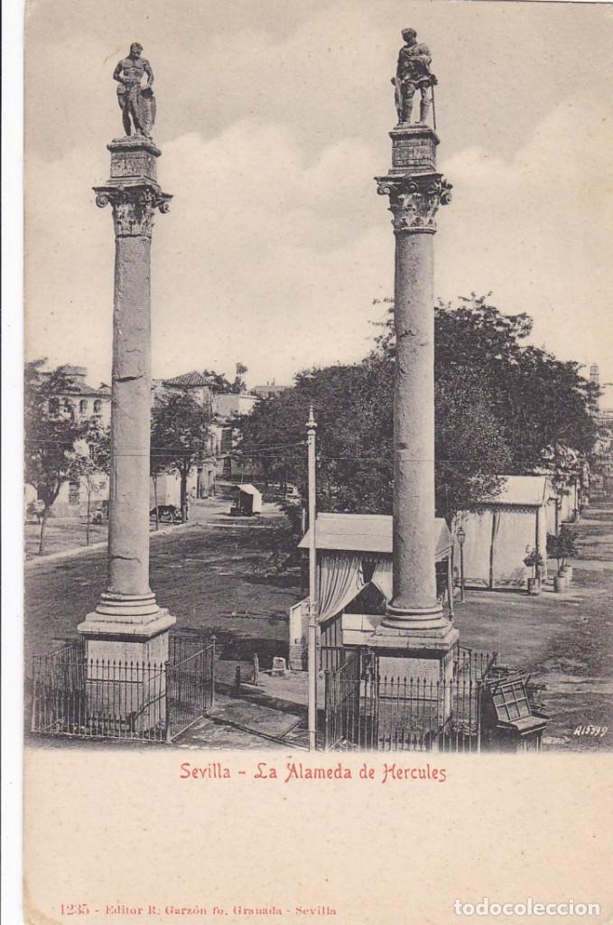 SEVILLA, LA ALAMEDA DE HERCULES. ED. R. GARZON GRANADA. Nº 1235. REVERSO SIN DIVIDIR (Postales - España - Andalucía Antigua (hasta 1939))