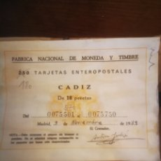 Postales: 180 TARJETAS ENTEROPOSTALES CADIZ. Lote 289496483