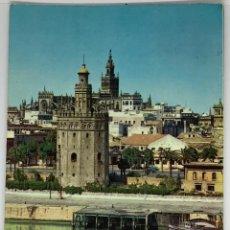 Postales: SEVILLA, TORRE DEL ORO AL FONDO LA GIRALDA. OSCAR COLOR CIRCULADA 1967. Lote 294105208