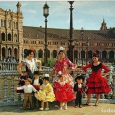 Postales: SEVILLA, PLAZA DE ESPAÑA, TRANE FLAMENCA. CIRCULADA 1971. SELLO.. Lote 294460193