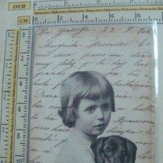 Postales: POSTAL DE PERROS. AÑO 1906. NIÑA PEQUEÑA CON PERRITO NEGRO. 199. . Lote 11858464