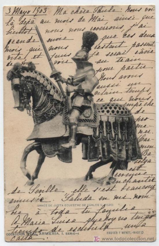 ARNÉS DE JUSTA DE CARLOS V. FRANQUEADO Y FECHADO EN MADRID EN 1905. (Postales - Postales Temáticas - Animales)
