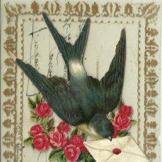 Postales: GOLONDRINA CARTA EN EL PICO ENTREGA FELICITACION TROQUELADA. Lote 19094401