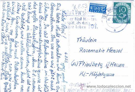 Postales: ACUARIO DEL MAR DEL NORTE WILHELMSHAVEN EN ALEMANIA 7-8-1953 CALAMAR TINTENFISCHE UX - Foto 2 - 20650383