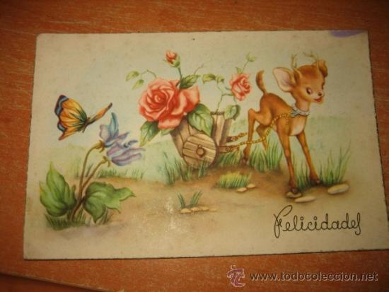 FELICIDADES ESCRITA Y FECHADA 1952 (Postales - Postales Temáticas - Animales)
