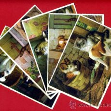 Postales: LOTE 5 POSTALES, ILUSTRADAS , PERROS PERRITOS GATOS GATITOS , ORIGINAL , I. Lote 254685900