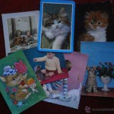 Postales: LOTE DE 7 POSTALES DE GATOS-ANIMALES.. Lote 40103062