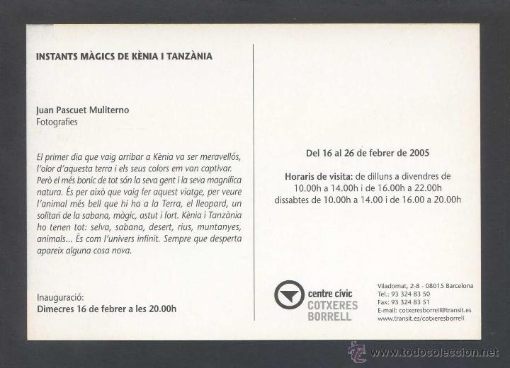 Postales: *Juan Pascuet Muliterno - Instants Màgics de Kènia i Tanzània* Barcelona 2005. Nueva. - Foto 2 - 43934426