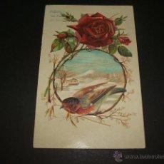 Postales: POSTAL PAJARO EN LA NIEVE Y ROSA POSTAL EN RELIEVE HACIA 1906. Lote 45689845
