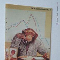 Postales: POSTAL CHIMPACE THE BOSS IS ALWAYS RIGHT - EL JEFE SIEMPRE TIENE RAZÓN - 1986 - SIN CIRCULAR. Lote 51537482