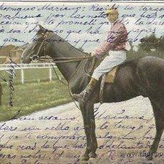 Postales: POSTAL HOMBRE A CABALLO EN CARRERA 1905 FECHADA EN BAYONA. Lote 51966822
