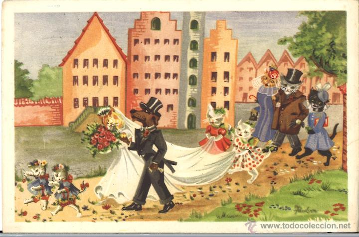 POSTAL CIRCULADA - 1955 - GATOS - PERRO (Postales - Postales Temáticas - Animales)