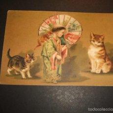 Postales: NIÑO ORIENTAL CON GATOS POSTAL 1906. Lote 55666339