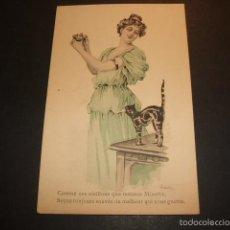 Postales: MUJER CON GATO Y NIDO POSTAL 1906. Lote 55666903