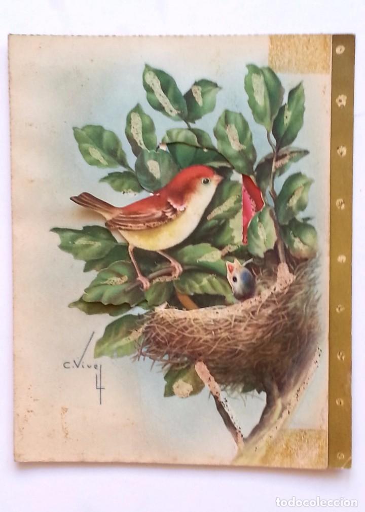 PRECIOSA TARJETA POSTAL DESPLEGABLE TROQUELADA ILUSTRADOR C. VIVES - AÑOS 50 (Postales - Postales Temáticas - Animales)