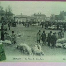 Postales: POSTAL FRANCIA 1917 MOULINS LE PLAN DES BOUCHERS FERIA GANADO PORCINO CERDO. Lote 78444594