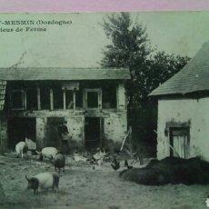Postales: POSTAL FRANCIA 1910 SAINT MESMIN GRANJA DE CERDOS. Lote 78447175