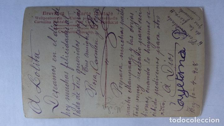 Postales: ANTIGUA POSTAL COLOREADA, PERO CON CESTA DE FLORES Y BOTELLA DE CHAMPAGNE, AÑO 1908 - Foto 2 - 92179240