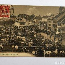 Postales: ANTIGUA POSTAL ORIGINAL CIRCULADA SELLO Y MATASELLO P.P.S.XX AÑO 1920 LA FOIRE A BULLE , MUY ANIMADA. Lote 96918527