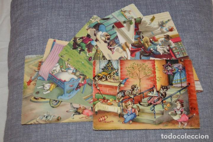 Postales: VINTAGE - LOTE DE 6 POSTALES CIRCULADAS - AÑOS 60 - MOTIVO GATOS - FABULAS ANIMALES - HAZ OFERTA - Foto 5 - 100754195