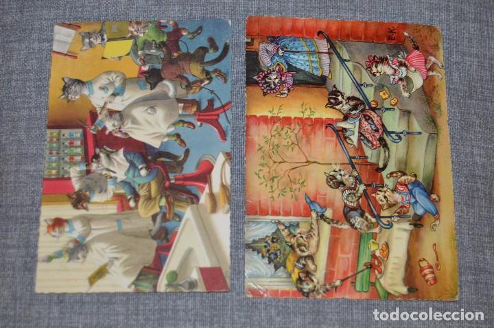 Postales: VINTAGE - LOTE DE 6 POSTALES CIRCULADAS - AÑOS 60 - MOTIVO GATOS - FABULAS ANIMALES - HAZ OFERTA - Foto 2 - 100754195