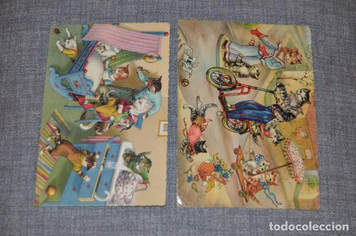 Postales: VINTAGE - LOTE DE 6 POSTALES CIRCULADAS - AÑOS 60 - MOTIVO GATOS - FABULAS ANIMALES - HAZ OFERTA - Foto 4 - 100754195