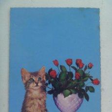 Postales: BONITA POSTAL CON GATO Y JARRON CON FLORES , AÑOS 60. Lote 112462503